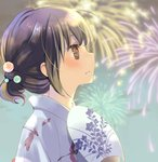 1girl ahoge bangs blurry blurry_background blush brown_hair closed_mouth commentary_request crying crying_with_eyes_open depth_of_field dragonfly_print fan fireworks from_side hair_ornament holding holding_fan japanese_clothes kimono kuga_tsukasa original outdoors paper_fan short_hair sideways_mouth solo tears uchiwa white_kimono