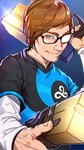 1boy absurdres black-framed_eyewear blue_background blue_eyes brown_hair cloud_9_(team) commentary cosplay dual_wielding glasses glint gun hand_up handgun highres holding holding_gun holding_weapon league_of_legends league_of_legends_world_championship long_sleeves looking_at_viewer lucian_(league_of_legends) lucian_(league_of_legends)_(cosplay) male_focus mole mole_on_neck ohnips pistol short_over_long_sleeves short_sleeves sneaky_(gamer) solo upper_body weapon