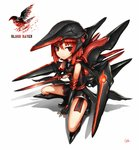 1girl bare_shoulders black_footwear black_gloves boots closed_mouth dagger elbow_gloves fingerless_gloves gia gloves glowing headgear holding holding_dagger holding_knife holding_weapon knife logo looking_at_viewer machinery original red_eyes red_hair signature simple_background solo squatting weapon white_background