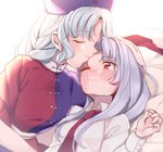2girls animal_ears bangs blue_dress blue_headwear blush bunny_ears closed_eyes commentary_request dress eyebrows_visible_through_hair forehead_kiss hand_on_another's_head hand_up hat kiss long_hair long_sleeves looking_at_another lying multicolored multicolored_clothes multicolored_dress multiple_girls necktie nurse_cap on_back one_eye_closed purple_hair red_cross red_dress red_neckwear reisen_udongein_inaba sash satomachi shirt short_sleeves sidelocks silver_hair smile touhou upper_body white_sash white_shirt wing_collar yagokoro_eirin yuri