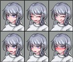 1girl :d :o ;q blush burn_scar chart closed_eyes dorei_to_no_seikatsu_~teaching_feeling~ expressions eyebrows_visible_through_hair face grey_background grey_hair hair_ornament hair_ribbon hairclip hat heart heart-shaped_pupils highres long_hair looking_at_viewer multiple_views nose_blush nurse nurse_cap official_art older one_eye_closed open_mouth ponytail purple_eyes ray-k ribbon scar simple_background smile sweatdrop sylvie_(dorei_to_no_seikatsu) symbol-shaped_pupils tongue tongue_out white_ribbon