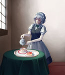 1girl bow bowtie braid closed_eyes cup facing_viewer fine_art_parody food fork fruit highres indoors inose_(murphy) izayoi_sakuya maid parody pie pouring saucer silver_hair solo standing strawberry table tablecloth tea teacup teapot the_milkmaid touhou tray window