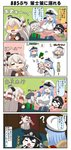 4girls 4koma ? amatsukaze_(kantai_collection) battleship_hime beret black_hair blank_eyes blonde_hair blue_hair blush book box breasts cheek_press chibi chocolate closed_eyes comic commentary cup dress eating epaulettes evil_smile female_admiral_(kantai_collection) fleeing flying_sweatdrops food food_on_face gift gift_box gloves grey_hair hair_tubes hairband hat hat_ribbon heart henohenomoheji highres holding holding_gift horns imagining jacket kantai_collection kashima_(kantai_collection) large_breasts long_hair long_sleeves military military_hat military_uniform mini_hat multiple_girls musical_note naval_uniform oni_horns open_book open_door open_mouth peaked_cap pointer puchimasu! red_eyes ribbon school_uniform serafuku shaded_face shinkaisei-kan sidelocks sleeveless sleeveless_dress smile sparkle_background spoken_musical_note surprised tea tearing_up tears translated twintails uniform valentine white_gloves yellow_eyes yunomi yuureidoushi_(yuurei6214)
