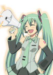 1girl ^_^ aqua_hair closed_eyes detached_sleeves facing_viewer hand_on_hip hatsune_miku long_hair megaphone necktie open_mouth smile solo sorakujira_(pixiv) twintails very_long_hair vocaloid