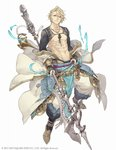 1boy abs aladdin_(sinoalice) anklet bare_chest blonde_hair blue_eyes bridal_gauntlets chain chest collarbone full_body gold gold_trim hair_over_one_eye halberd jewelry ji_no looking_at_viewer nagatekkou necklace nipples off_shoulder official_art oil_lamp pointy_shoes polearm sash shoes shrug_(clothing) sinoalice solo square_enix waist_cape weapon white_background