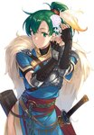 1girl bangs belt blue_dress breastplate breasts brown_gloves closed_mouth cross-laced_clothes dress elbow_gloves feathers fingerless_gloves fire_emblem fire_emblem:_rekka_no_ken fire_emblem_heroes gloves gold_trim green_eyes green_hair hair_feathers hair_ornament high_ponytail hips ichikei kanzashi long_hair lyndis_(fire_emblem) pelvic_curtain ponytail quiver rope sash sheath side_slit silver_trim simple_background single_pauldron solo standing sword weapon white_background
