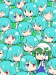 6+girls :q aqua_hair blue_eyes chibi clone green_eyes green_hair ishimu kochiya_sanae multiple_girls multiple_persona odd_one_out red_eyes short_hair solid_oval_eyes tatara_kogasa tongue tongue_out touhou