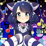 :3 ahen animal_ears animated aqua_eyes bangs bell bell_choker bell_collar blush bow cat_ears choker city city_lights collar cyan_(show_by_rock!!) dark_blue_hair drill_hair emofuri eyebrows_visible_through_hair frilled_blouse frilled_bow frills hairband head_tilt huge_filesize lolita_hairband looking_at_viewer lowres musical_note neck_ribbon open_mouth ribbon show_by_rock!! smile star striped striped_legwear thighhighs ugoira