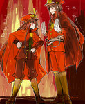 1boy 1girl artist_name blush boots brother_and_sister brown_hair cape demon_archer eyebrows_visible_through_hair fate/grand_order fate_(series) fire frown hands_on_hips hat height_difference koha-ace long_hair looking_at_another oda_nobukatsu_(fate/grand_order) oda_uri open_mouth red_cape red_eyes siblings sketch sweat tearing_up uhana