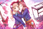 2girls bang_dream! bangs beret blazer blue_jacket blush bow braid brown_eyes brown_hair brown_sweater closed_eyes closed_mouth collared_shirt commentary_request diagonal_stripes electric_guitar eyebrows_visible_through_hair flower guitar hair_bow hair_ornament hat highres hug ichigaya_arisa instrument jacket keyboard_(instrument) light_brown_hair long_hair lunacle multiple_girls open_blazer open_clothes open_jacket petals pink_flower pleated_skirt purple_bow red_bow red_headwear red_skirt reflection ripples shirt skirt smile standing star striped striped_bow sweater toyama_kasumi tree_branch twintails water white_shirt x_hair_ornament yuri