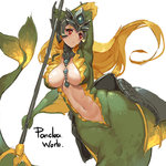 1girl areola_slip areolae blush breasts cleavage holding holding_weapon league_of_legends long_hair nami_(league_of_legends) navel pandea_work red_eyes simple_background sketch solo tail weapon white_background