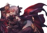 2girls ahoge black_bow black_hair black_hat black_scarf blonde_hair blush bow cape commentary_request eye_contact face-to-face family_crest fate/grand_order fate_(series) from_side half_updo hand_on_another's_face hat highres imminent_kiss japanese_clothes kimono koha-ace long_hair looking_at_another military military_hat military_uniform multiple_girls oda_nobunaga_(fate) oda_uri okita_souji_(fate) peaked_cap profile rahato red_cape red_eyes scarf shinsengumi short_hair sleeveless sleeveless_kimono smile toeless_legwear uniform white_background white_kimono yuri
