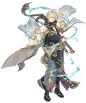 1boy aladdin_(sinoalice) anklet blonde_hair blue_eyes bracelet eyebrows_visible_through_hair eyes_visible_through_hair full_body gold_trim hair_over_one_eye hand_on_hilt japanese_clothes jewelry ji_no katana kimono looking_at_viewer official_art oil_lamp one_eye_closed sandals scarf sheath sinoalice smile socks solo sword transparent_background weapon wide_sleeves