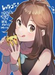 1girl :q blue_(pokemon) blue_background brown_eyes brown_hair closed_mouth commentary dated gen_1_pokemon long_hair pikachu pokemon pokemon_(game) pokemon_lgpe simple_background sleeveless solo tongue tongue_out unapoppo wristband