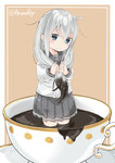 1girl anchor_symbol aruma_(sawayaka_tokuko_miruku) blue_eyes blush chocolate closed_mouth commentary_request cup eyebrows_visible_through_hair food_on_hair grey_hair grey_skirt hair_between_eyes hibiki_(kantai_collection) highres holding holding_hair in_container in_cup kantai_collection long_hair long_sleeves looking_at_viewer minigirl no_hat no_headwear pleated_skirt saucer school_uniform serafuku shirt skirt smile solo teacup twitter_username valentine very_long_hair wading white_shirt