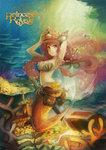 1girl arinko_(ta.n.ra.ra) armpits arms_up bad_id bad_pixiv_id bubble coin conch copyright_name coral crown gem green_eyes grin long_hair looking_at_viewer mermaid monster_girl original pink_hair princess_royale smile solo sword texture the_little_mermaid treasure_chest underwater weapon