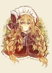 1girl blue_eyes bonnet bow bowtie braid bug butterfly closed_mouth commentary english_commentary flower hair_flower hair_ornament highres insect long_hair looking_at_viewer multiple_braids original osiimi portrait red_flower smile solo