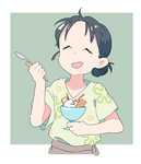 1girl ^_^ ahoge bangs black_hair border cherry chocolate_syrup closed_eyes food fruit green_background hair_bun hands_up holding holding_spoon ice_cream kono_sekai_no_katasumi_ni koukou_(climacool) mole mole_under_mouth open_mouth outside_border parted_bangs pocky short_sleeves simple_background smile solo spoon upper_body urano_suzu wafer white_border |d