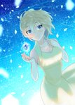 1girl anastasia_(idolmaster) ara_ssmjnkosam_-key2321 bare_arms bare_shoulders blonde_hair blue_background blue_eyes breasts cleavage commentary_request dress eyebrows_visible_through_hair gem highres idolmaster idolmaster_cinderella_girls large_breasts looking_at_viewer short_hair smile solo yellow_dress