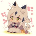 1girl :< animal_ear_fluff animal_ears bangs beige_background black_hair blush capelet cat_ears cat_girl cat_tail chibi closed_mouth commentary_request eyebrows_visible_through_hair fate/grand_order fate_(series) green_eyes grey_hair hair_between_eyes highres kemonomimi_mode long_hair long_sleeves multicolored_hair muuran nagao_kagetora_(fate) solo striped_tail tail tail_raised translated two-tone_hair very_long_hair white_capelet wide_sleeves