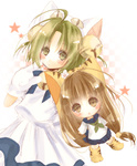 2girls animal_ears bell brown_eyes cat_ears dejiko di_gi_charat green_hair kapocha multiple_girls puchiko star