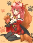 1girl :3 absurdres animal_ears bell bell_collar black_legwear blush breasts caster_(fate/extra) cleavage collar fate/grand_order fate_(series) fox_ears fox_tail hair_ribbon highres large_breasts long_hair looking_at_viewer open_mouth paws pink_hair ribbon sitting solo tail tamamo_cat_(fate/grand_order) thighhighs wariza yellow_eyes