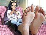 barefoot blue_eyes boobnasslover cellphone collared_shirt eyewear_on_head feet nico_robin one_piece pants phone photo-referenced relaxed shirt smile soles toes