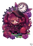1girl :d beret black_capelet black_dress black_hat blush broken_heart brown_hair capelet checkered checkered_floor chibi clock commentary_request curled_horns demon_girl demon_horns demon_tail dress eyepatch fang fire frilled_capelet frills fur_collar gothic_lolita hat head_tilt heart heart_eyepatch highres horns lolita_fashion muuran no_shoes open_mouth original pantyhose purple_hair red_legwear signature smile solo star tail white_background