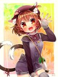 1girl alternate_costume alternate_hairstyle animal_ears autumn bag beret blush braid breasts brown_hair buttons cat_ears cat_tail chen cowboy_shot earrings eyebrows eyebrows_visible_through_hair fangs hair_tie handbag hat heart highres ibaraki_natou jewelry leaf leaf_background long_sleeves looking_at_viewer multicolored multicolored_eyes multiple_tails nekomata open_mouth orange_eyes over_shoulder overalls paw_print purple_hat red_pupils red_ribbon ribbon satchel small_breasts solo strap_slip sweater tail tail_ribbon teeth thighhighs touhou turtleneck twin_braids two_tails waving yellow_eyes