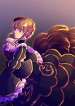 1girl azumi-kun beatrice black_dress black_eyes bow braid dress frills gold_trim gradient gradient_background hand_up long_sleeves looking_at_viewer pink_bow short_hair sidelocks solo tilted_headwear umineko_no_naku_koro_ni