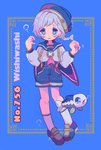 1girl air_bubble bangs blue_background blue_eyes blue_footwear blue_hat blue_sailor_collar braid bubble character_name english fish frame full_body gen_7_pokemon grey_hair hands_up hat highres knees long_sleeves looking_at_viewer mameeekueya moemon personification poke_ball pokemon pokemon_(creature) sailor_collar shirt short_hair shorts simple_background symbol-shaped_pupils tears underwater wishiwashi