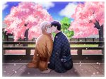 2boys artist_name black_hair blue_sky brown_eyes cardcaptor_sakura cherry_blossoms chinese_commentary closed_eyes cloud commentary_request couple day from_behind glasses heavenlove japanese_clothes kimono kinomoto_touya kiss long_sleeves male_focus multiple_boys outdoors petals sitting sky tree tsukishiro_yukito unmoving_pattern white_hair wide_sleeves yagasuri yaoi