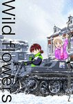 2girls :d aki_(girls_und_panzer) arm_support bangs beanie black_coat black_gloves blue_eyes blunt_bangs building casual circle_name commentary_request cover cover_page doujin_cover emblem english eyebrows_visible_through_hair fringe girls_und_panzer gloves ground_vehicle hat keizoku_(emblem) kettenkrad leaning_forward light_brown_hair long_sleeves looking_at_viewer mikko_(girls_und_panzer) military military_vehicle mittens motor_vehicle multiple_girls oka_shouhei open_mouth panzerkampfwagen_iv pink_mittens pink_scarf purple_coat red_eyes red_hair scarf short_hair short_twintails sitting smile snow standing tank twintails waving white_hat winter winter_clothes