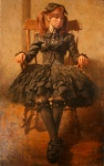 1girl bow chair dress frills gothic_lolita hair_bow highres kneehighs lolita_fashion misawa_hiroshi oil_painting_(medium) original realistic red_hair shoes sitting socks solo traditional_media twintails