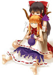 2girls bangs bare_shoulders barefoot blush bow brown_eyes brown_hair closed_eyes commentary_request detached_sleeves facing_viewer fangs frilled_skirt frills gourd hair_bow hair_tubes hakurei_reimu holding horn_ribbon horns hug hug_from_behind ibuki_suika long_hair looking_at_another multiple_girls nishiuri orange_hair pointy_ears purple_ribbon purple_skirt red_bow red_skirt ribbon ribbon-trimmed_clothes ribbon-trimmed_sleeves ribbon_trim shadow shirt sidelocks sitting skirt sleeveless sleeveless_shirt soles toes touhou white_background white_shirt white_sleeves