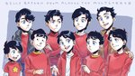 6+boys artist_name billy_batson black_hair blue_eyes commentary crossed_arms dated dc_comics frown hand_on_shoulder jacket male_focus multiple_boys multiple_persona open_hand open_mouth sen_(sen69) smile star sweater turtleneck