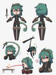 /\/\/\ 1girl :d beads book braid chameleon_tail chameleon_tongue character_sheet chibi chromatic_aberration commentary dagger english_commentary eyebrows_visible_through_hair food green_hair grey_background grin hair_beads hair_between_eyes hair_ornament hairband heart highres long_tongue looking_at_viewer medium_hair multiple_views open_mouth original porforever prehensile_tail red_eyes sandwich side_braid simple_background single_braid smile spoken_heart striped_tail table tail tongue very_long_tongue weapon