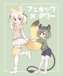 2girls :3 :d animal_ears bangs belt black_hair blonde_hair bow bowtie breasts brown_eyes brown_shorts character_name closed_mouth degu_(kemono_friends) extra_ears eyebrows eyebrows_visible_through_hair fennec_(kemono_friends) fox_ears fox_girl fox_tail fur_collar gloves green_hair green_shirt hand_up highres kemono_friends kolshica leg_up long_sleeves looking_at_another miniskirt multicolored multicolored_clothes multicolored_gloves multicolored_hair multicolored_legwear multiple_girls open_mouth pink_shirt pleated_skirt puffy_short_sleeves puffy_sleeves shirt shoes short_hair short_sleeves shorts skirt small_breasts smile tail tail_hug translated two-tone_legwear white_belt white_footwear white_gloves white_hair white_legwear white_skirt yellow_bow yellow_gloves yellow_legwear yellow_neckwear