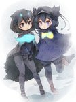 2girls bird_tail bird_wings black_hair blue_eyes blue_hair blush bow cape commentary_request dark_blue_hair eyebrows_visible_through_hair fur_collar gloves greater_lophorina_(kemono_friends) head_wings highres kemono_friends kolshica leggings long_sleeves multiple_girls pantyhose partial_commentary puffy_shorts shoe_bow shoes short_hair shorts smile standing standing_on_one_leg sweater western_parotia_(kemono_friends) wings