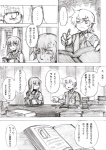 2girls alternate_costume alternate_hairstyle bad_id bad_pixiv_id comic contemporary greyscale highres kirisame_marisa kirusu library monochrome multiple_girls patchouli_knowledge tomboy touhou translated