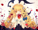 1girl anemone_(flower) apple bad_apple!! bangs black_skirt blonde_hair blue_bow blue_flower blunt_bangs blurry bow braid covering_mouth daimaou_ruaeru depth_of_field eyelashes flower food frilled_sleeves frills fruit gloves hair_bow hair_flower hair_ornament hairclip hat high-waist_skirt holding holding_fruit kirisame_marisa lens_flare long_hair looking_at_viewer one_eye_closed petals plant poppy_(flower) puffy_short_sleeves puffy_sleeves red_bow red_flower ribbon ribbon-trimmed_clothes ribbon_trim shirt short_sleeves side_braid skirt solo sparkle star star_hair_ornament touhou upper_body vines wavy_hair white_flower white_gloves white_shirt witch_hat yellow_eyes