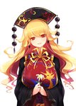 1girl bangs black_dress black_headwear blonde_hair breasts dress earrings eyelashes flower highres holding holding_flower jewelry junko_(touhou) large_breasts lily_(flower) long_hair long_sleeves looking_at_viewer open_mouth raptor7 red_eyes simple_background smile solo tabard tassel touhou upper_body wavy_hair white_background white_flower wide_sleeves