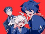 3boys :d :o ahoge blue_eyes blue_hair crossed_arms empoleon error gotoroku_(pkg) greninja grey_hair hair_between_eyes hand_up looking_at_another male_focus multiple_boys open_mouth personification pink_scarf pointing pointing_at_viewer pokemon red_background red_eyes samurott scarf simple_background smile standing upper_body wide_sleeves