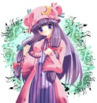 15_(tooka) 1girl bad_id crescent hat long_hair patchouli_knowledge purple_hair solo touhou