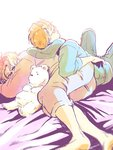 2boys ahoge america_(hetalia) axis_powers_hetalia bear bloom brothers canada_(hetalia) closed_eyes glasses hood hoodie kumajirou_(hetalia) looking_at_another lying male_focus multiple_boys on_side orange_hair polar_bear siblings sleeping smile todorofu twins