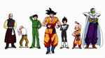 animated armor arms_behind_back bald beard black_hair book cape closed_eyes crossed_arms dougi dragon_ball dragon_ball_z facial_hair fighting_stance glasses headdress kicking kuririn muten_roushi neo_(dragon318) pants piccolo punching reading shoulder_pads son_gohan son_gokuu stretch tank_top tenshinhan third_eye throwing track_suit ugoira vegeta white_hair wristband