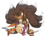 1girl absurdres animal_ear_fluff animal_ears aqua_eyes bangs blush breasts brown_hair cleavage commission fang fox_ears fox_girl fox_tail green_eyes highres large_breasts long_hair long_sleeves looking_at_viewer maron_(pet) multiple_tails open_clothes open_mouth original pink_cardigan plushmallow romana simple_background solo tail twintails white_background