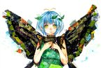 1girl antennae bangs blue_hair butterfly_wings commentary_request dress eternity_larva green_dress hair_ornament highres leaf leaf_on_head looking_at_viewer sano_naoi short_hair short_sleeves simple_background smile solo touhou white_background wings yellow_eyes