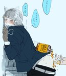 1boy against_wall alcohol anal_fingering ass brown_gloves clenched_teeth coat earmuffs fingering gloves heart heart-shaped_pupils male_focus original pants_down rollermet scarf solo_focus symbol-shaped_pupils teeth wall whiskey winter winter_clothes