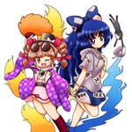 2girls ;d bangs barefoot belt blue_bow blue_eyes blue_fire blue_hair blue_skirt blush boots bow bowl bracelet chibi coat cropped_legs cross-laced_footwear damaged debt dress drill_hair earrings eyebrows_visible_through_hair eyewear_on_head feather_fan fire grey_hoodie hair_bow hair_ribbon hand_on_own_chest hat high_collar holding_hands jewelry knee_boots leg_lift long_hair long_sleeves looking_at_viewer multiple_girls nitamago one_eye_closed open_clothes open_coat open_mouth patterned_clothing pendant pink_dress purple_coat red_hair red_ribbon ribbon ring short_hair short_sleeves siblings simple_background sisters skirt smile standing standing_on_one_leg stuffed_animal stuffed_cat stuffed_toy sunglasses top_hat touhou twin_drills white_background wide_sleeves yorigami_jo'on yorigami_shion